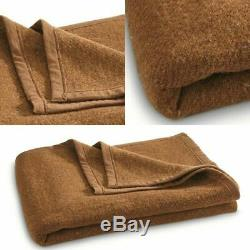 -100% Wool Blanket Italian Army Military Issue Surplus Brown Cover Collectible