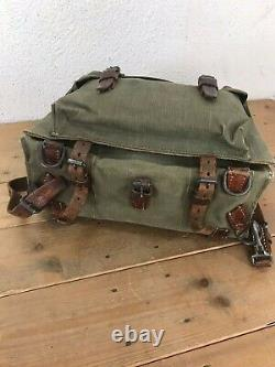 1940 RARE Swiss Army Military Backpack Rucksack Leather Canvas Vintage