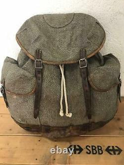 1943 Swiss Army Military Backpack Rucksack Canvas Leather Vintage