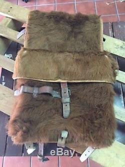 1950 Swiss Army Cowhide Leather Backpack Rucksack Military Vintage