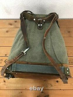 1961 Good Condition Swiss Army Military Backpack Rucksack Canvas Leather Vintage