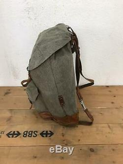 1964 Good Condition Swiss Army Military Backpack Rucksack Canvas Leather Vintage