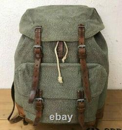 1965 Excellent Condition Swiss Army Military Backpack Rucksack Leather Vintage