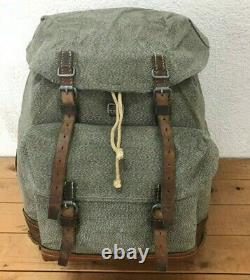 1965 Good Condition Swiss Army Military Backpack Rucksack Canvas Leather Vintage