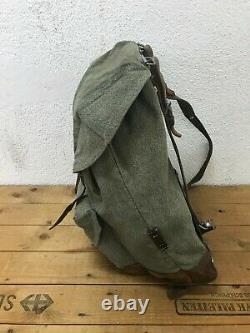 1969 Good Condition Swiss Army Military Backpack Rucksack Canvas Leather Vintage