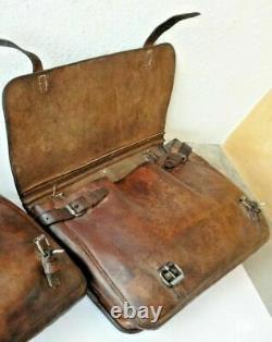 1x Vintage Swiss Army Military Big saddle Leather bag Rarity Motorcycle 1937 37