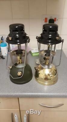 2x BRITISH ARMY vapalux brass and green CAMPING Military Lantern Surplus