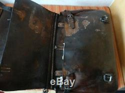 2x Vintage Swiss Army Military Big saddle Leather bag CH Rarity Motorcycle WW2