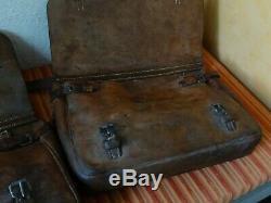 2x Vintage Swiss Army Military Big saddle Leather bag Rarity Motorcycle 1937 39