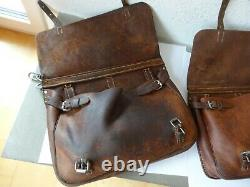 2x Vintage Swiss Army Military Big saddle Leather bag Rarity Motorcycle 1937 WW2