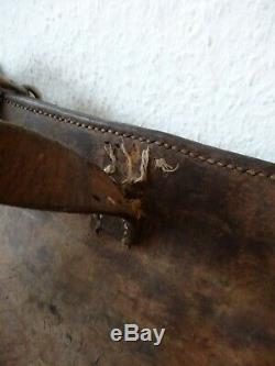 2x Vintage Swiss Army Military Big saddle Leather bag Rarity Motorcycle WW2 1923