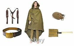 4 in 1 kit ussr army belt with supporting + flask + shovel in case + cloak tent