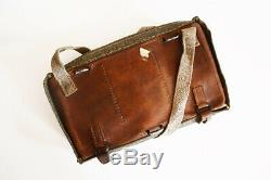 Antique (1915) Swiss Army Leather & Canvas Bread Bag Ammo Military Shoulder WW1