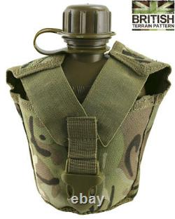 Army Combat Military GI US British Tactical Water Bottle + Molle Pouch BTP Camo