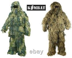 Army Military Combat Sniper Shooting Ghillie Suit Skrim Camo Desert Woodland