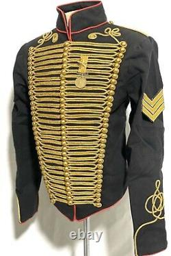 Army Military Gold Hussar Black/Red Jacket In 42,44,46, with Star Brass Medal