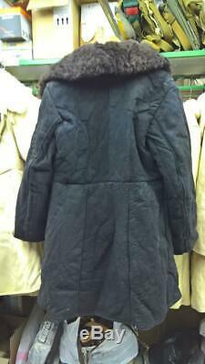 Bekesha Black TULUP Warm Jacket Russian Army Officer Winter Sheepskin Coat USSR