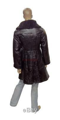 Bekesha Navy Jacket Russian Army Officer Winter Sheepskin Coat USSR TULUP Black
