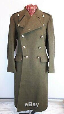 British Army Greatcoat Vintage 1955 Full Length Wool Overcoat Military 39 40