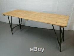 British Folding Military Trestle Table Army Rustic Old Vintage Shabby Chic