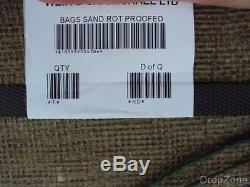 British Military Army Issue Large Hessian Sand Bags Sacks x 100, Flood Defence
