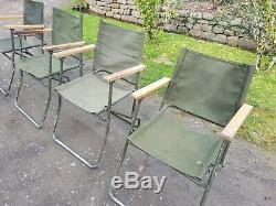 Ex british army folding landrover canvas chair chairs x 4 camping military