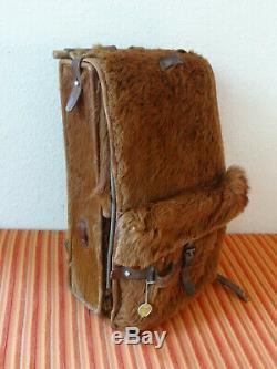 Fine 1945 Swiss Army Cowhide Leather Backpack Rucksack Military Fur Vintage