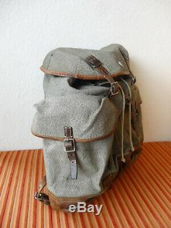 Fine Big Swiss Army Military Backpack Rucksack 1948 Canvas Salt & Pepper