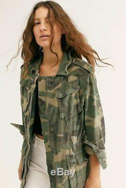Free People Medium Not Your Brother's Surplus Camouflage Camo Army Jacket