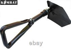 Kombat British US Army Military Entrenching Tool Tri Folding Shovel Spade + Case