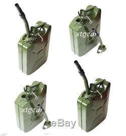 Lot 4 Green NATO 2.5 Gallon Jerry Can Army Authentic Military Fuel Steel Tank