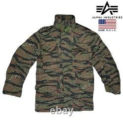 M65 Jacket Original Alpha Industries US Army Military Combat Field Tiger Camo S
