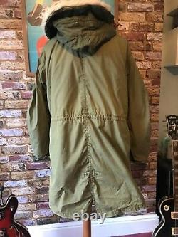 M65 SIZE Medium US ARMY ECW FISHTAIL PARKA Vintage Mod Military Issue with Hood
