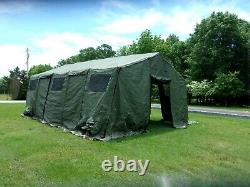 MILITARY BASE X TENT 305 +FLOOR+ STAKES GREEN 18x 25 FT-450 SQ FT SURPLUS ARMY