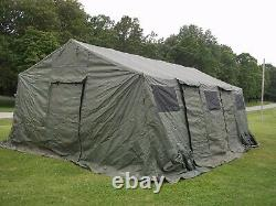 MILITARY BASE X TENT 305 +FLOOR+ STAKES GREEN 18x25 FT-450 SQ FT SURPLUS ARMY