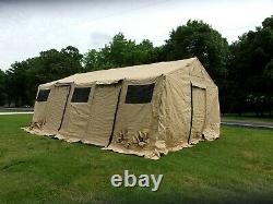 MILITARY BASE X TENT 305+FLOOR+ STAKES+LINER TAN 18x25 FT450 SQ FT SURPLUS ARMY