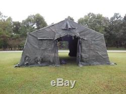 MILITARY SURPLUS 20 x16 TEMPER TENT CAMPING HUNTING ARMY 2 STOVE JACKS LINER US