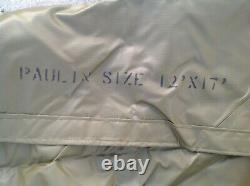 MILITARY SURPLUS AMMO TARP 12 x17 ARMY Green COVER TENT FLOOR TRAILER + ROPES