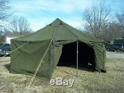 MILITARY SURPLUS CANVAS GP SMALL TENT 17x17 FT CAMPING HUNTING ARMY. NO POLES