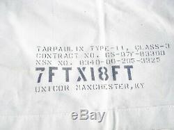 MILITARY SURPLUS CANVAS TAN TARP 7x18 OLD SCHOOL COVER TRUCK TRAILER ARMY RARE