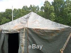 MILITARY SURPLUS GP MEDIUM TENT 16x32 HUNTING CAMP GOOD CONDITION- RUSTY ARMY