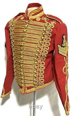 Mens Military Gold Hussar Red General Jacket 42,44,46With Chevrons And Badge