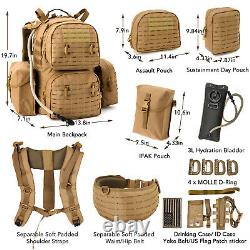 Military Army Large Rucksack MOLLE 2 Tactical Backpack with Pouches Coyote Brown