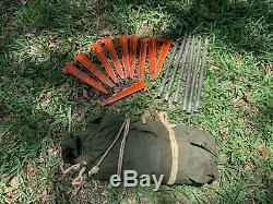 Military Shelter Half 1/2 Pup Tent Vietnam Army W Poles AND Stakes Dated 1967