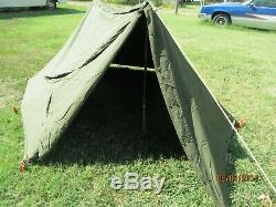 Military Shelter Half 1/2 Pup Tent Vietnam Army W Poles And