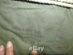 Military Shelter Half 1/2 Pup Tent Vietnam Army W Poles AND Stakes Dated 1968