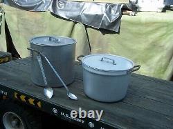 Military Surplus Kitchen M59 Field Range- 2- Pot System+ 2 Lids, Spoons Us Army