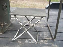 Military Surplus Portable Wood Field Desk + Seat+drawer Organizer+lock- Us Army