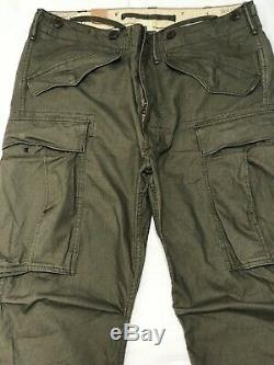 NEW RRL Ralph Lauren Military Cotton Surplus Cargo Pants Size 33x32
