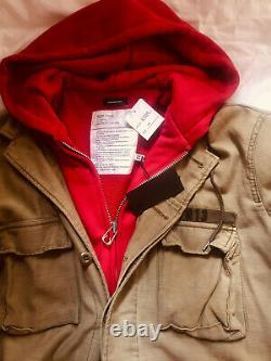NWT R13 Surplus ABU Build In Long Red Hoodie Jacket Grunge Military Oversized M